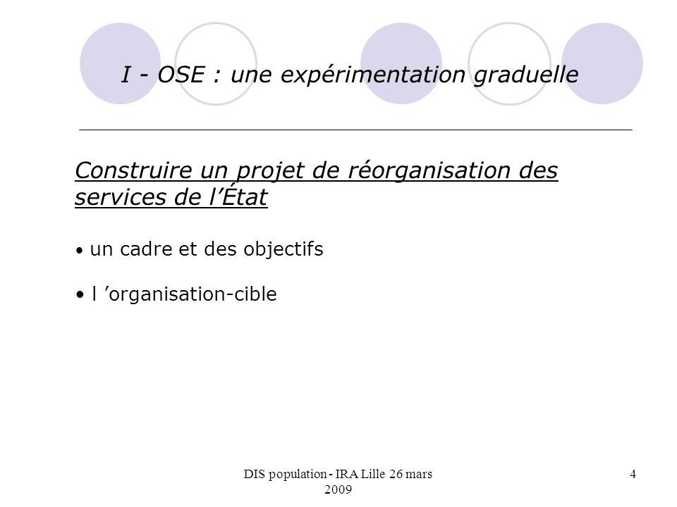 DIS population - IRA Lille 26 mars 2009 4 I - OSE : une expérimentation graduelle Construire un projet de réorganisation des services de lÉtat un cadre et des objectifs l organisation-cible