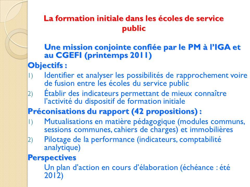 La formation initiale dans les écoles de service public Une mission conjointe confiée par le PM à lIGA et au CGEFI (printemps 2011) Objectifs : 1) Ide