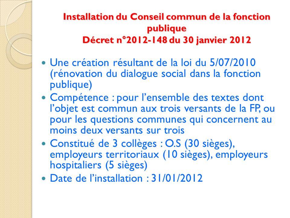 Installation du Conseil commun de la fonction publique Décret n°2012-148 du 30 janvier 2012 Une création résultant de la loi du 5/07/2010 (rénovation