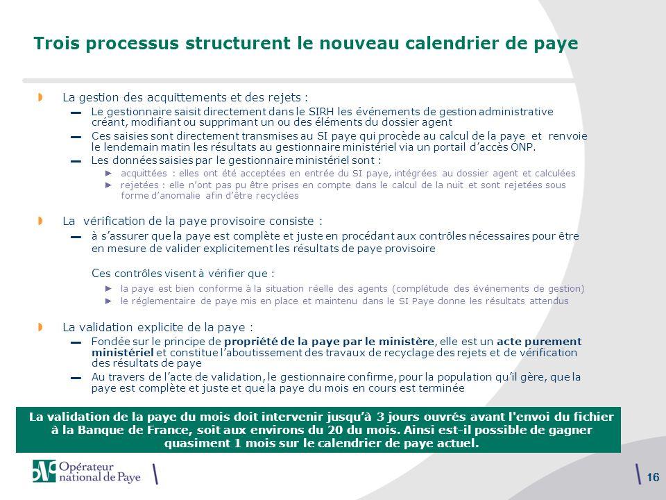16 Trois processus structurent le nouveau calendrier de paye La gestion des acquittements et des rejets : Le gestionnaire saisit directement dans le S