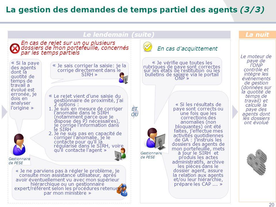 20 La nuit Le moteur de paye de l'ONP contrôle et intègre les événements de gestion (données sur la quotité de temps de travail) et calcule la paye de