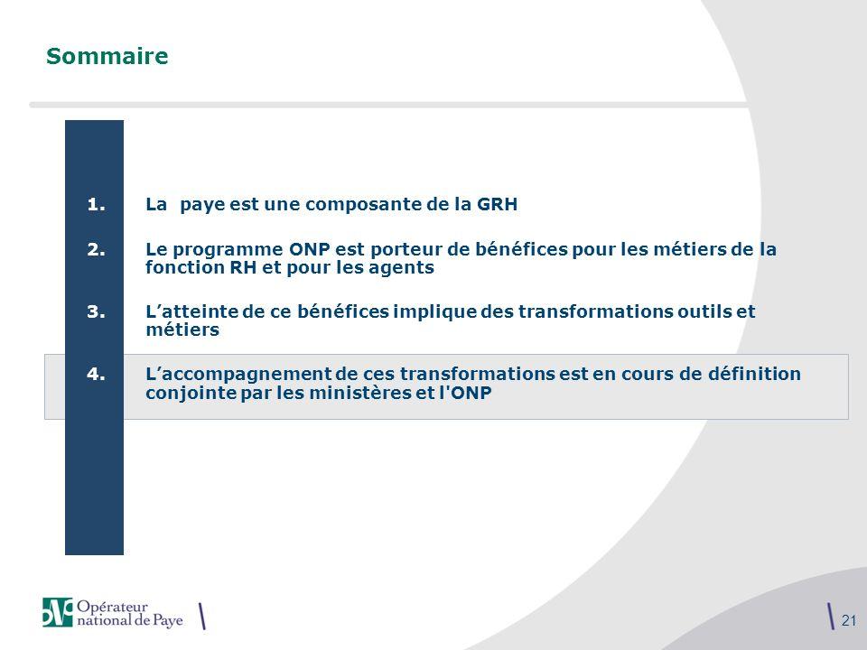 21 Sommaire 1.La paye est une composante de la GRH 2.Le programme ONP est porteur de bénéfices pour les métiers de la fonction RH et pour les agents 3