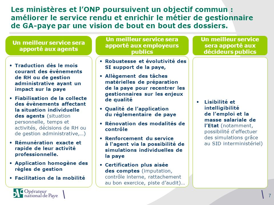 7 Les ministères et lONP poursuivent un objectif commun : améliorer le service rendu et enrichir le métier de gestionnaire de GA-paye par une vision d
