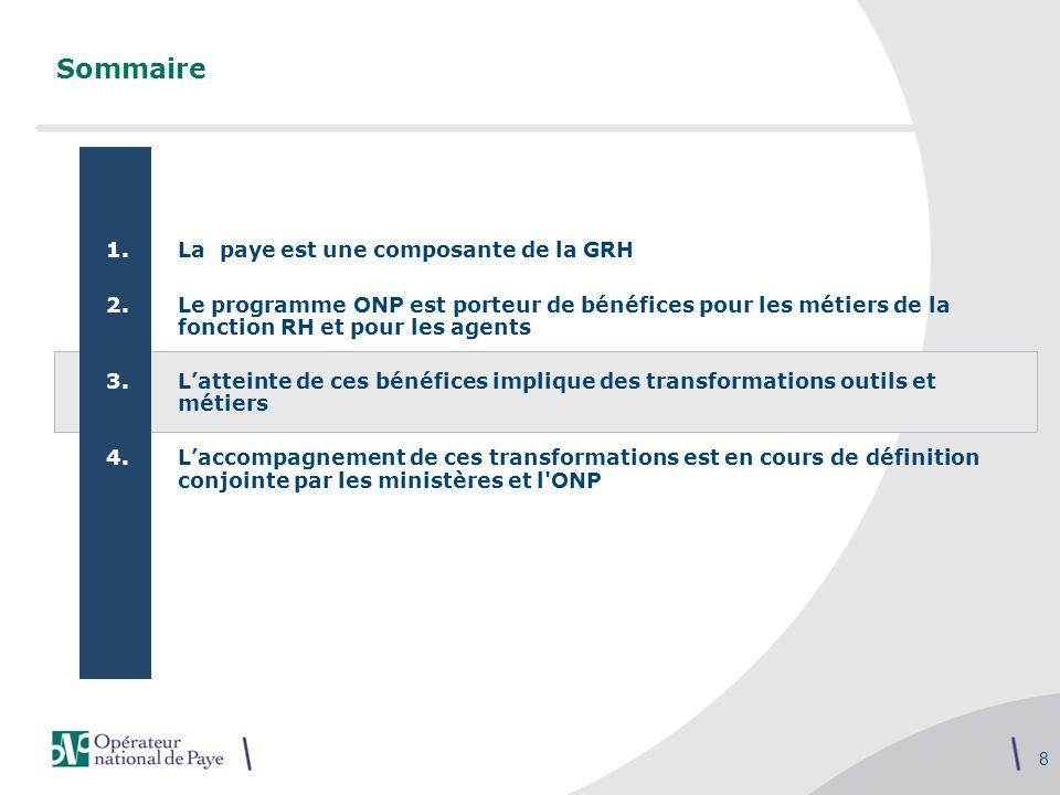 8 Sommaire 1.La paye est une composante de la GRH 2.Le programme ONP est porteur de bénéfices pour les métiers de la fonction RH et pour les agents 3.