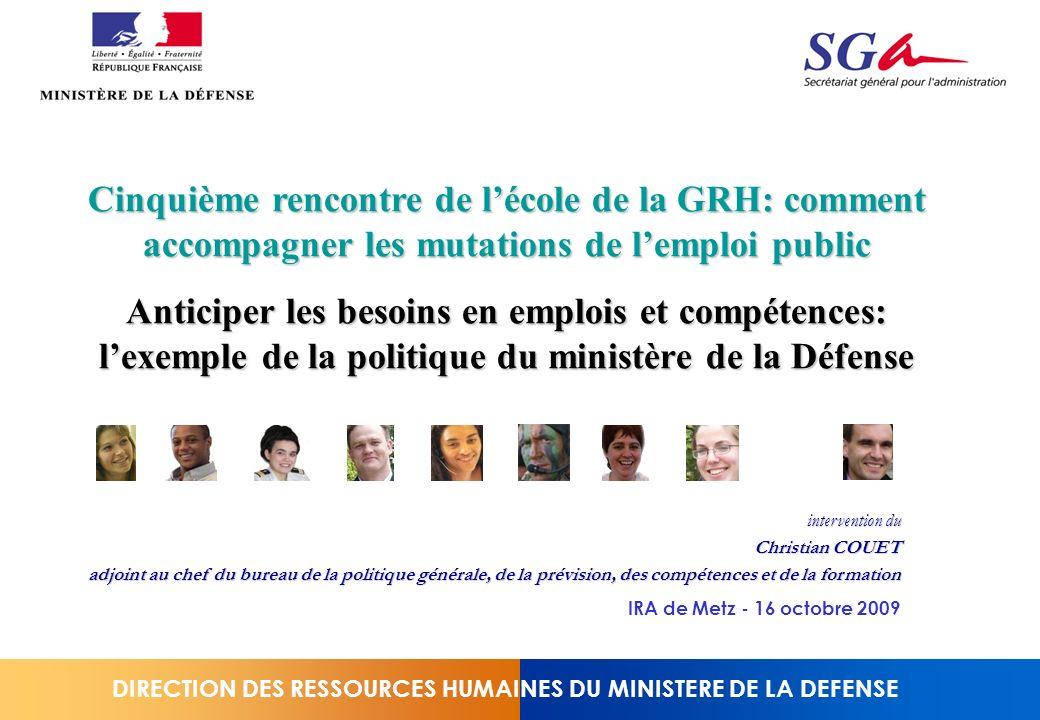 DIRECTION DES RESSOURCES HUMAINES DU MINISTERE DE LA DEFENSE Cinquième rencontre de lécole de la GRH: comment accompagner les mutations de lemploi pub