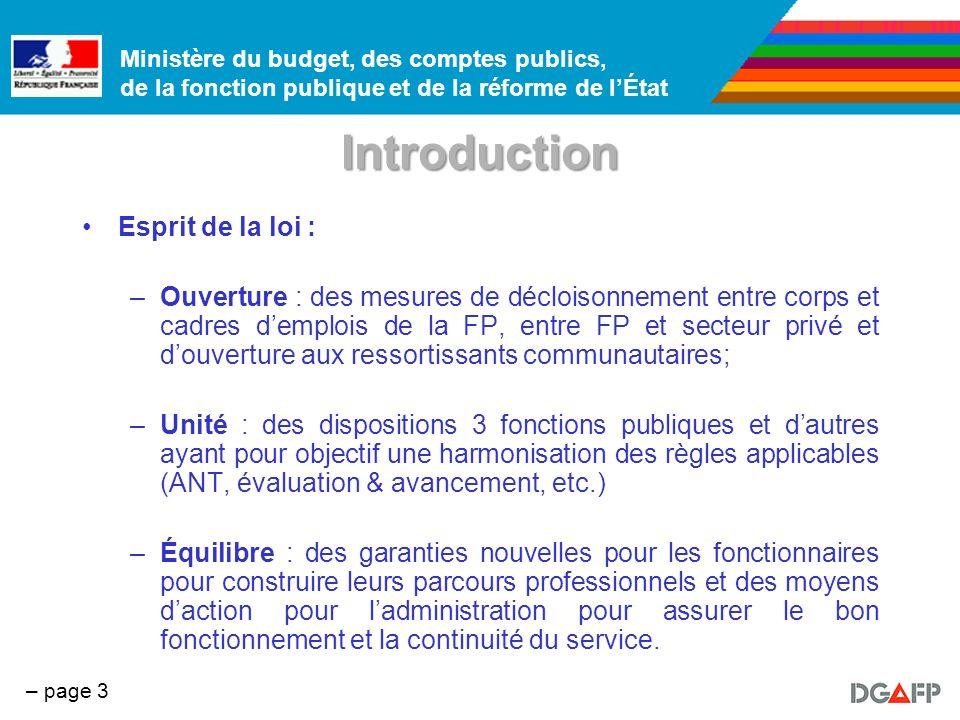 Ministère du budget, des comptes publics, de la fonction publique et de la réforme de lÉtat – page 4 Introduction Résultat : –Une « boîte à outils » à destination des agents et des administrations.