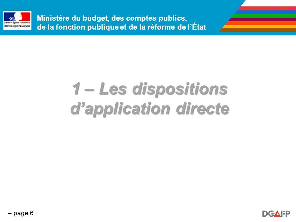Ministère du budget, des comptes publics, de la fonction publique et de la réforme de lÉtat – page 7 Rappel des dispositions 1.