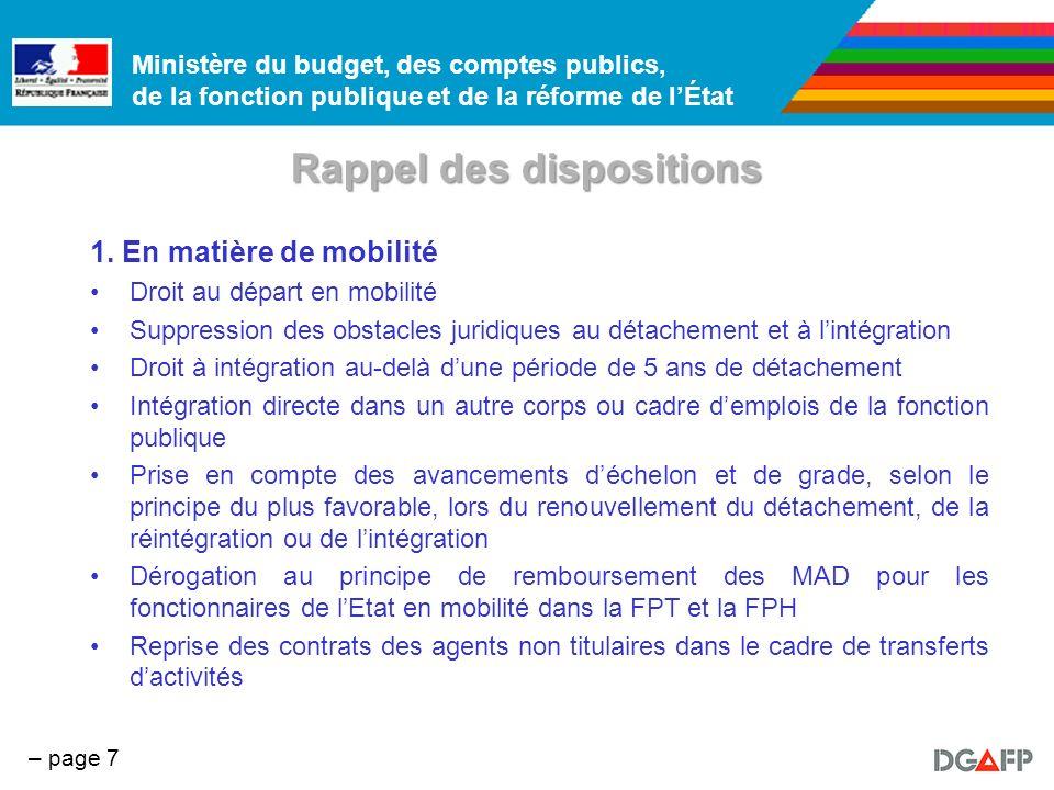 Ministère du budget, des comptes publics, de la fonction publique et de la réforme de lÉtat – page 8 Rappel des dispositions 2.