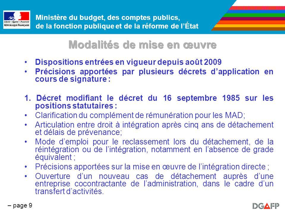 Ministère du budget, des comptes publics, de la fonction publique et de la réforme de lÉtat – page 10 Modalités de mise en œuvre 2.