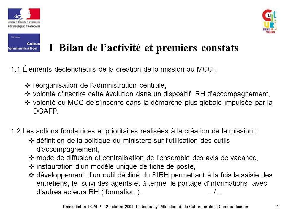 I Bilan de lactivité et premiers constats Présentation DGAFP 12 octobre 2009 F. Redoutey Ministère de la Culture et de la Communication1 1.1 Éléments