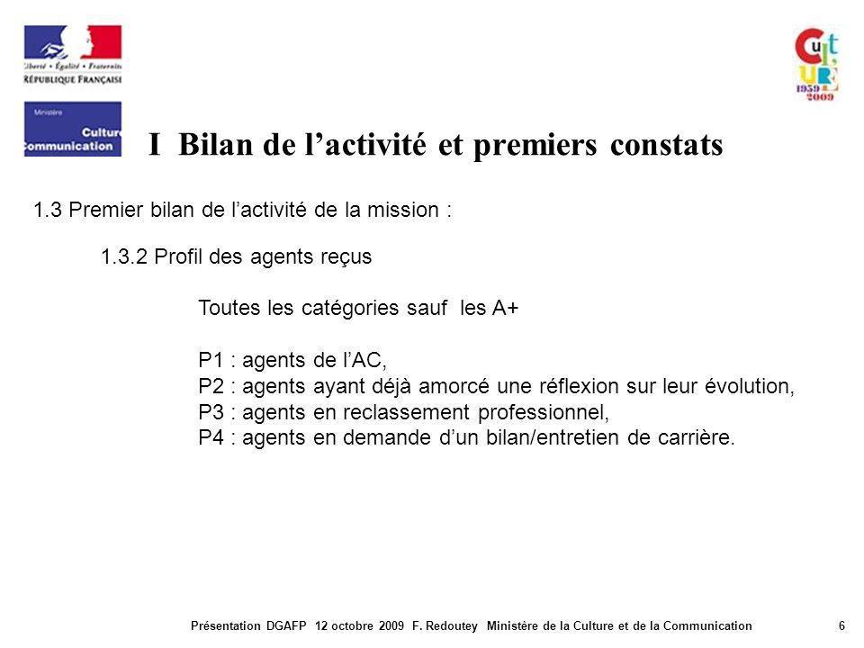 I Bilan de lactivité et premiers constats Présentation DGAFP 12 octobre 2009 F. Redoutey Ministère de la Culture et de la Communication6 1.3 Premier b