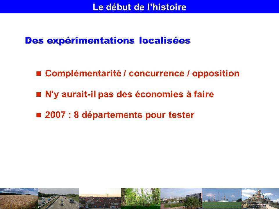 Le début de l histoire Des expérimentations localisées Complémentarité / concurrence / opposition N y aurait-il pas des économies à faire 2007 : 8 départements pour tester