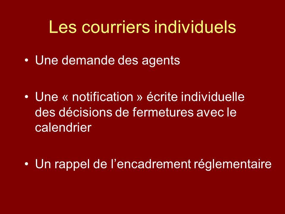 Les courriers individuels Une demande des agents Une « notification » écrite individuelle des décisions de fermetures avec le calendrier Un rappel de lencadrement réglementaire