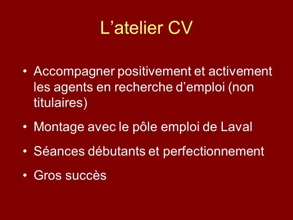 Latelier CV Accompagner positivement et activement les agents en recherche demploi (non titulaires) Montage avec le pôle emploi de Laval Séances débutants et perfectionnement Gros succès