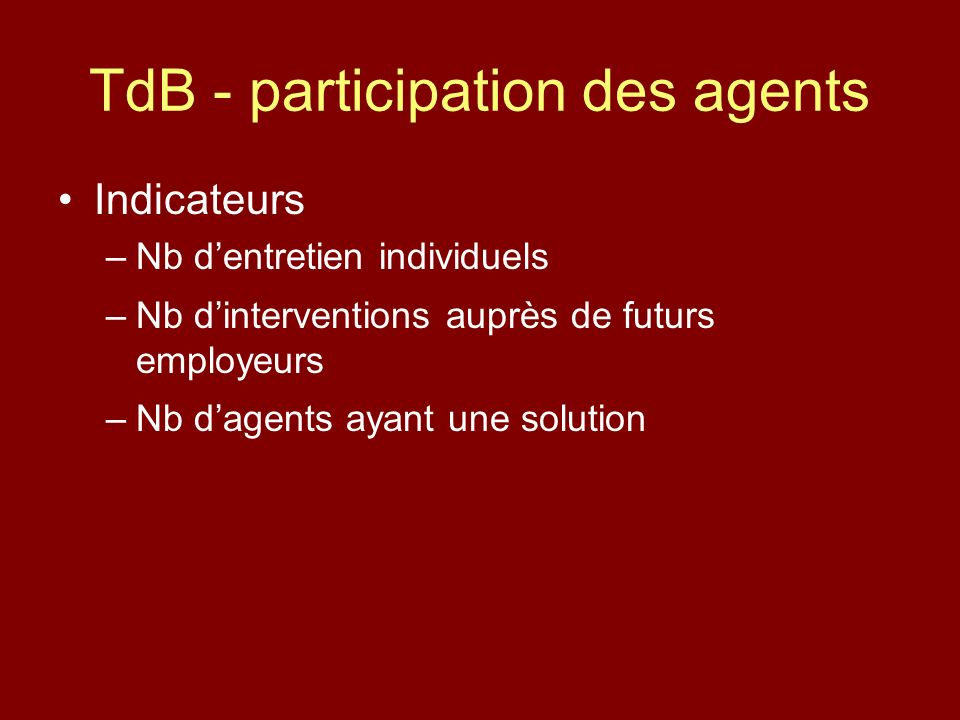 TdB - participation des agents Indicateurs –Nb dentretien individuels –Nb dinterventions auprès de futurs employeurs –Nb dagents ayant une solution