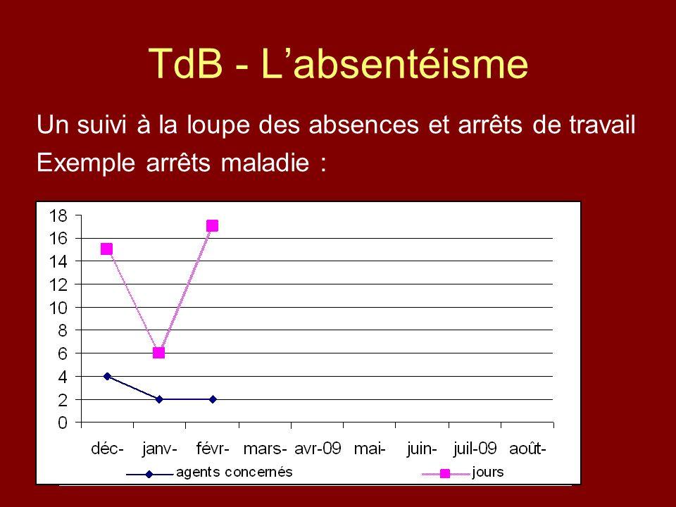 TdB - Labsentéisme Un suivi à la loupe des absences et arrêts de travail Exemple arrêts maladie :