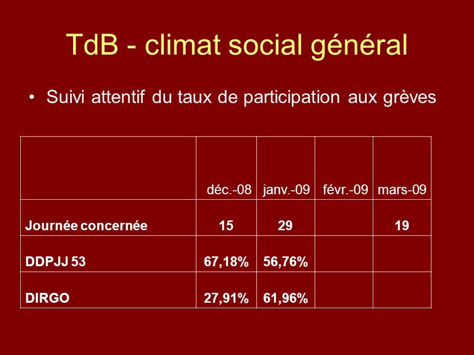 TdB - climat social général Suivi attentif du taux de participation aux grèves déc.-08janv.-09févr.-09mars-09 Journée concernée1529 19 DDPJJ 5367,18%56,76% DIRGO27,91%61,96%