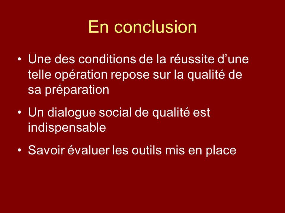 En conclusion Une des conditions de la réussite dune telle opération repose sur la qualité de sa préparation Un dialogue social de qualité est indispensable Savoir évaluer les outils mis en place
