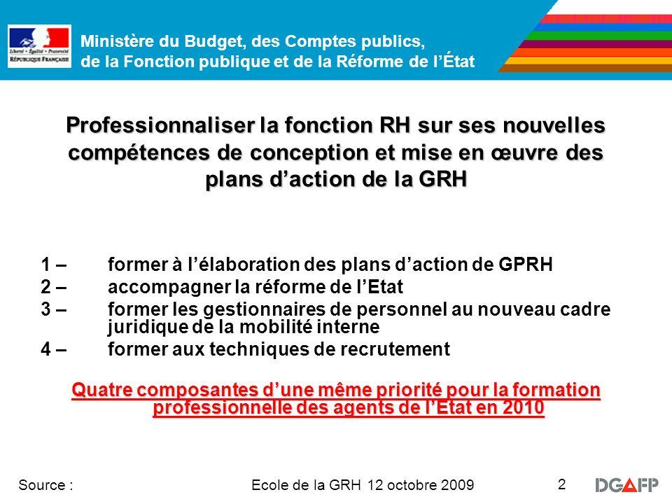 Ministère du Budget, des Comptes publics, de la Fonction publique et de la Réforme de lÉtat Ecole de la GRH 12 octobre 2009 Source : 2 Professionnalis