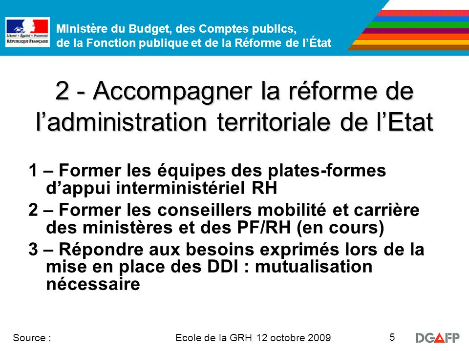 Ministère du Budget, des Comptes publics, de la Fonction publique et de la Réforme de lÉtat Ecole de la GRH 12 octobre 2009 Source : 5 2 - Accompagner