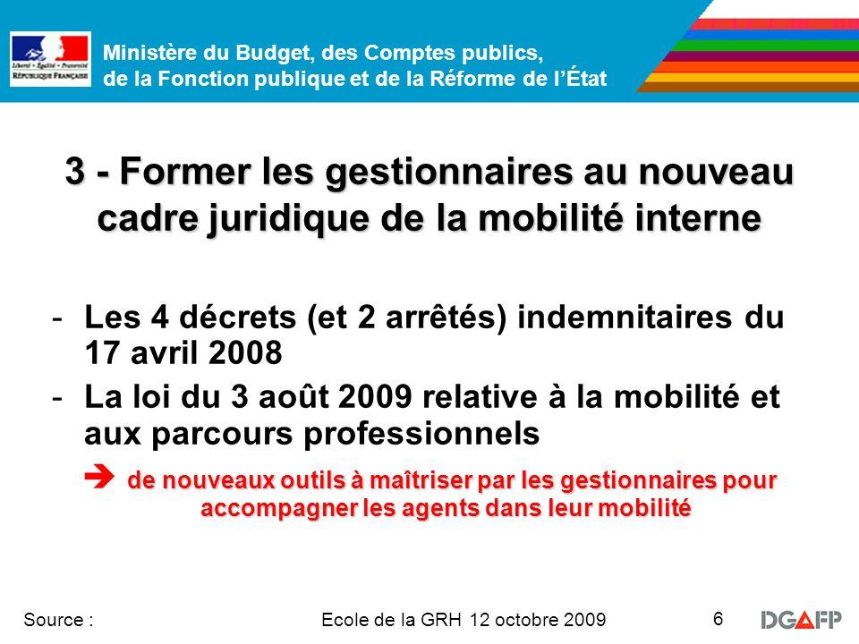 Ministère du Budget, des Comptes publics, de la Fonction publique et de la Réforme de lÉtat Ecole de la GRH 12 octobre 2009 Source : 6 3 - Former les