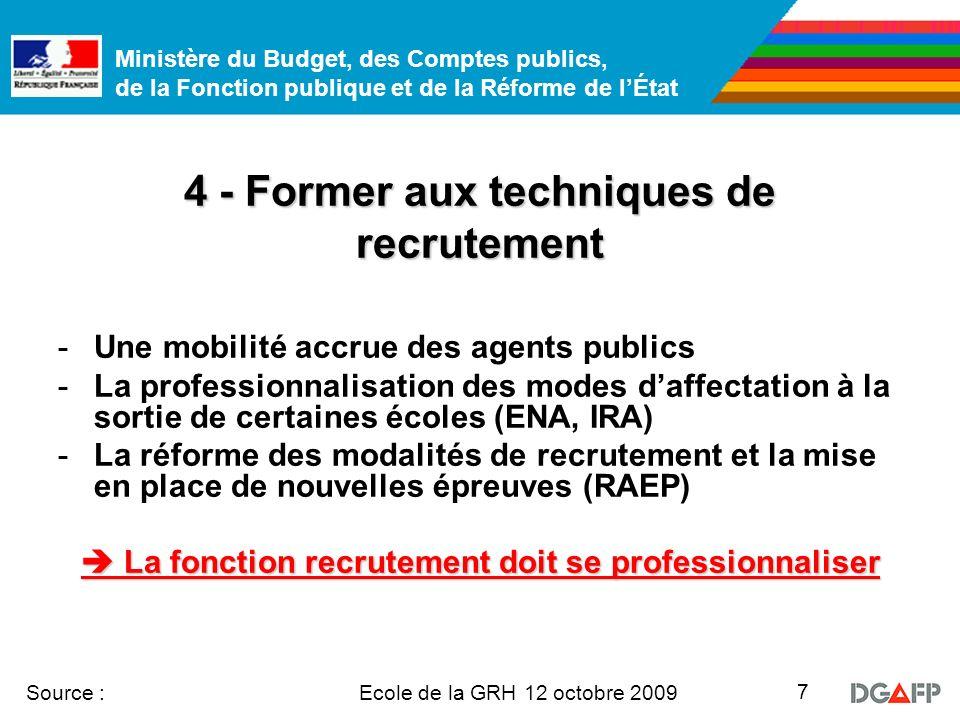 Ministère du Budget, des Comptes publics, de la Fonction publique et de la Réforme de lÉtat Ecole de la GRH 12 octobre 2009 Source : 7 4 - Former aux