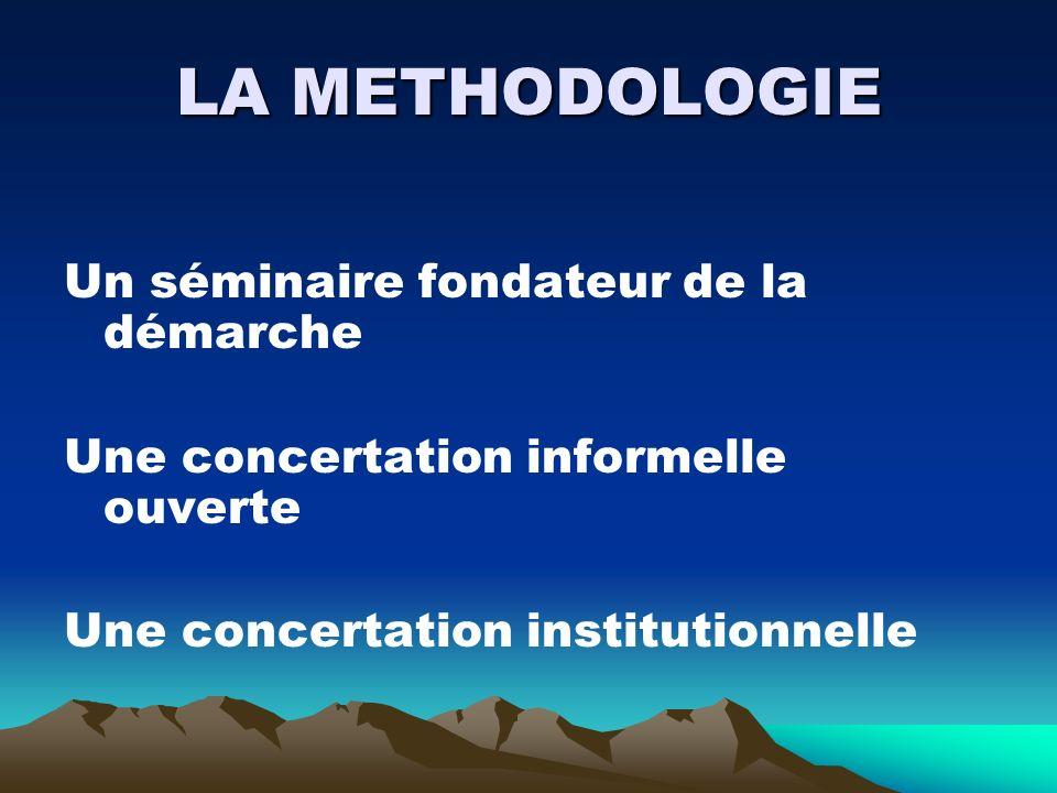 LA METHODOLOGIE Un séminaire fondateur de la démarche Une concertation informelle ouverte Une concertation institutionnelle