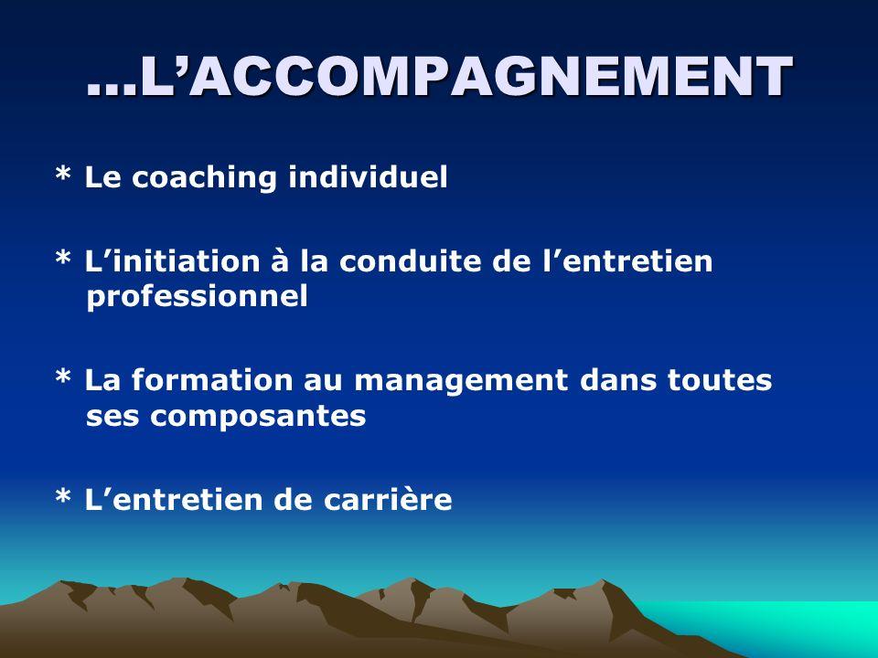 …LACCOMPAGNEMENT * Le coaching individuel * Linitiation à la conduite de lentretien professionnel * La formation au management dans toutes ses composa