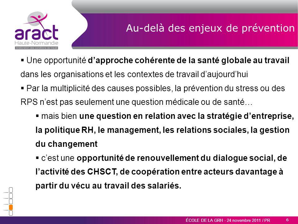 6 ÉCOLE DE LA GRH - 24 novembre 2011 / PR Au-delà des enjeux de prévention Une opportunité dapproche cohérente de la santé globale au travail dans les