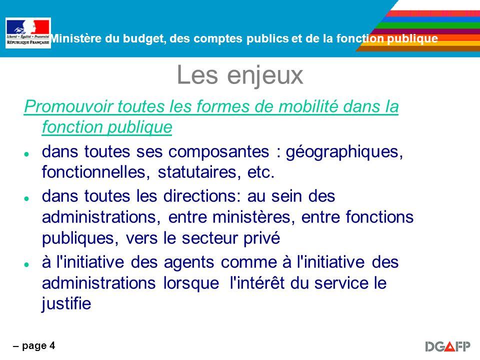 Ministère du budget, des comptes publics et de la fonction publique – page 4 Les enjeux Promouvoir toutes les formes de mobilité dans la fonction publique dans toutes ses composantes : géographiques, fonctionnelles, statutaires, etc.