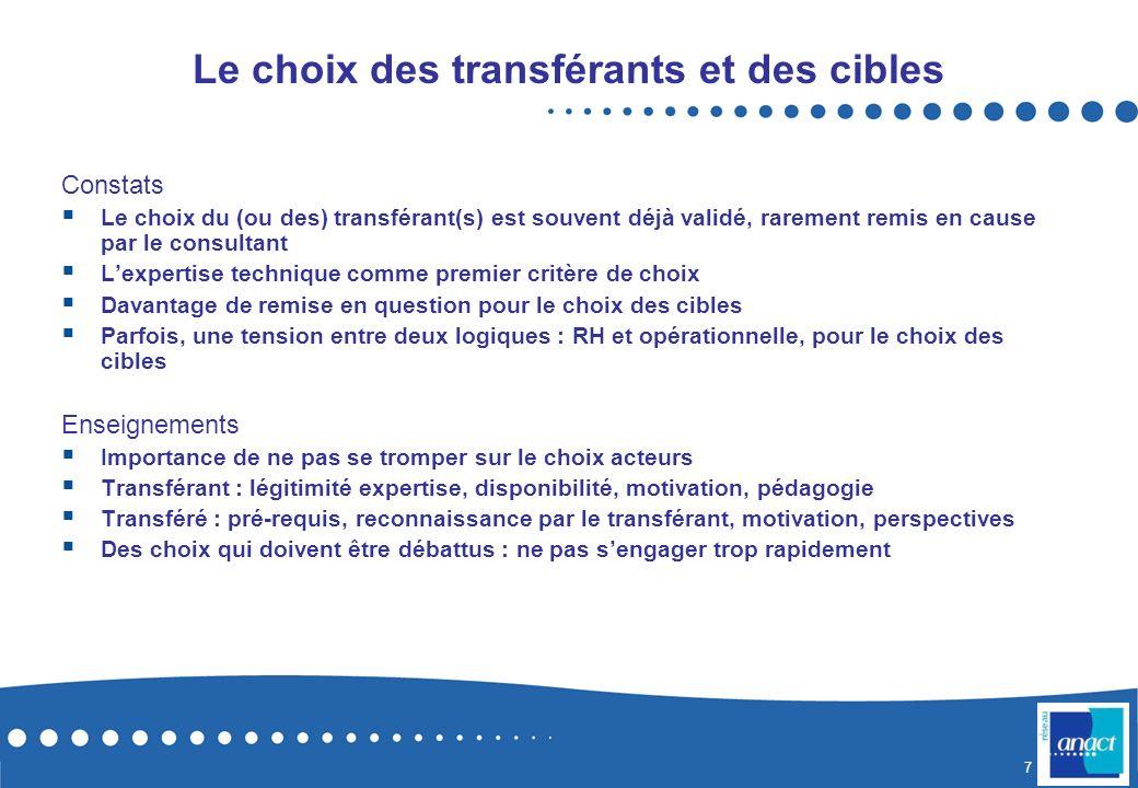 7 Le choix des transférants et des cibles Constats Le choix du (ou des) transférant(s) est souvent déjà validé, rarement remis en cause par le consult