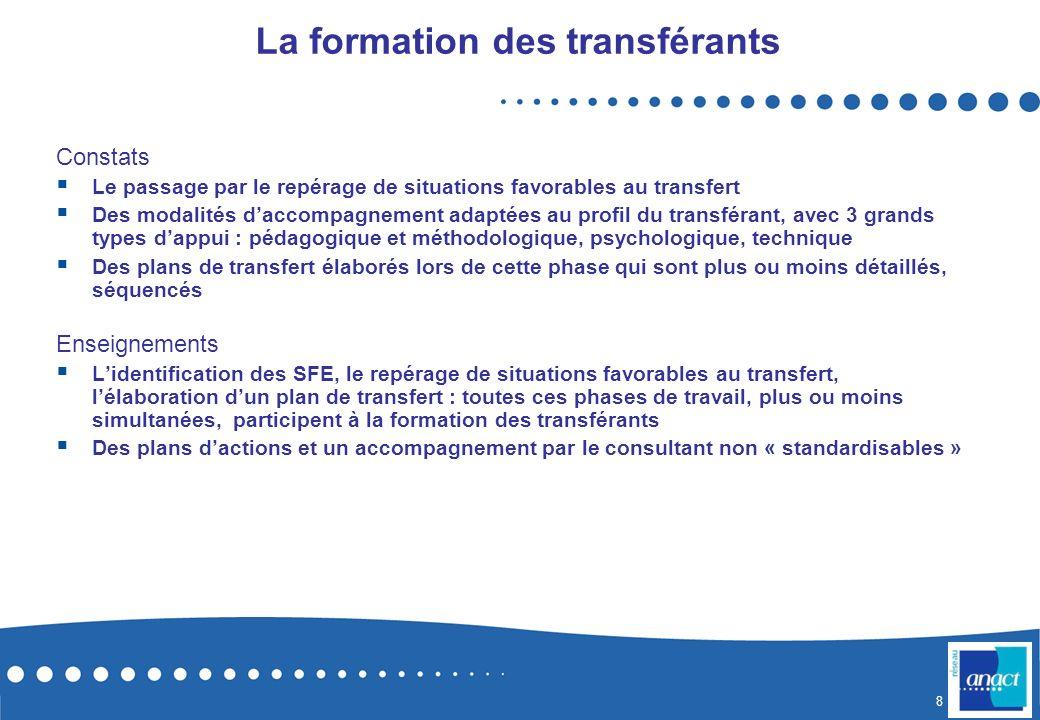 8 La formation des transférants Constats Le passage par le repérage de situations favorables au transfert Des modalités daccompagnement adaptées au pr
