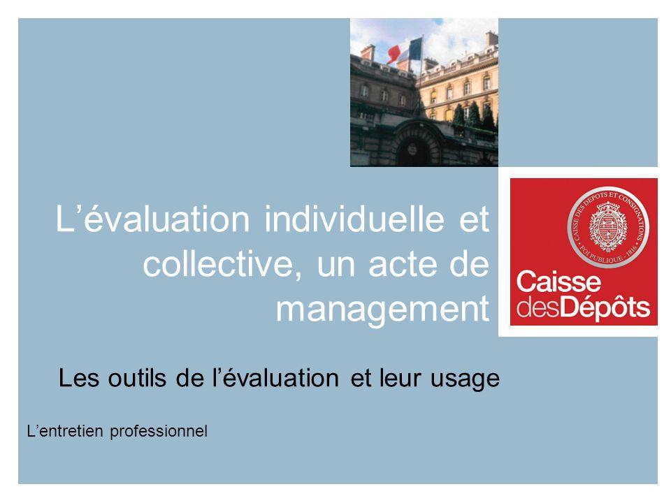 Lévaluation individuelle et collective, un acte de management Les outils de lévaluation et leur usage Lentretien professionnel