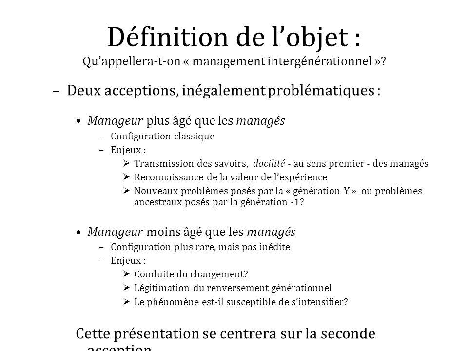 Définition de lobjet : Quappellera-t-on « management intergénérationnel »? –Deux acceptions, inégalement problématiques : Manageur plus âgé que les ma