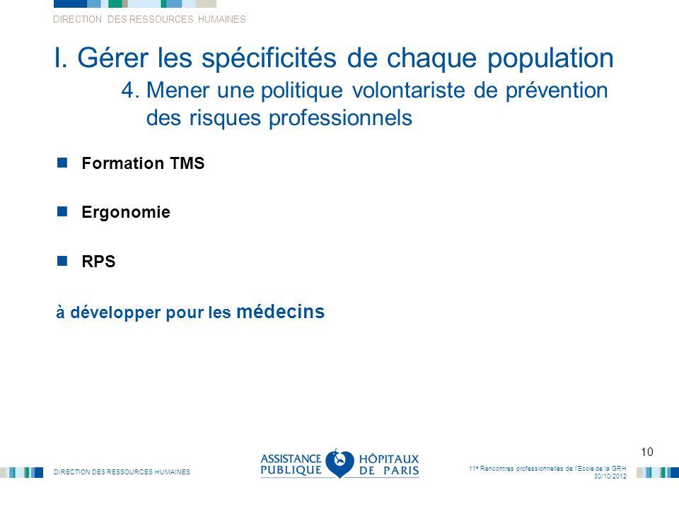 DIRECTION DES RESSOURCES HUMAINES 10 11 è Rencontres professionnelles de lEcole de la GRH 30/10/2012 I. Gérer les spécificités de chaque population 4.