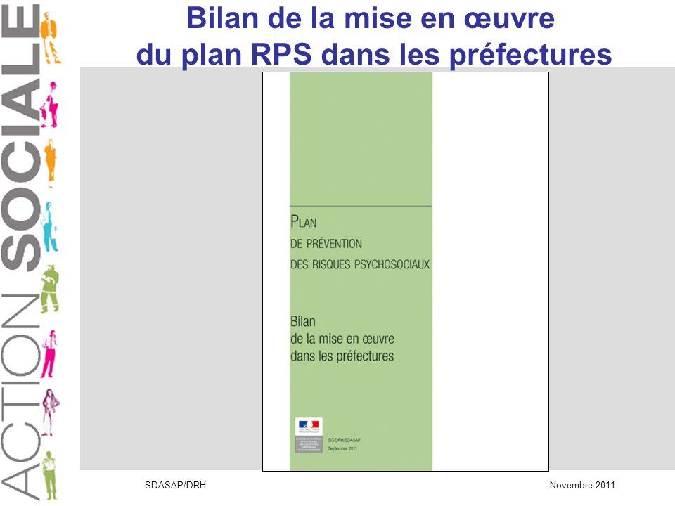 SDASAP/DRH Novembre 2011 Bilan de la mise en œuvre du plan RPS dans les préfectures