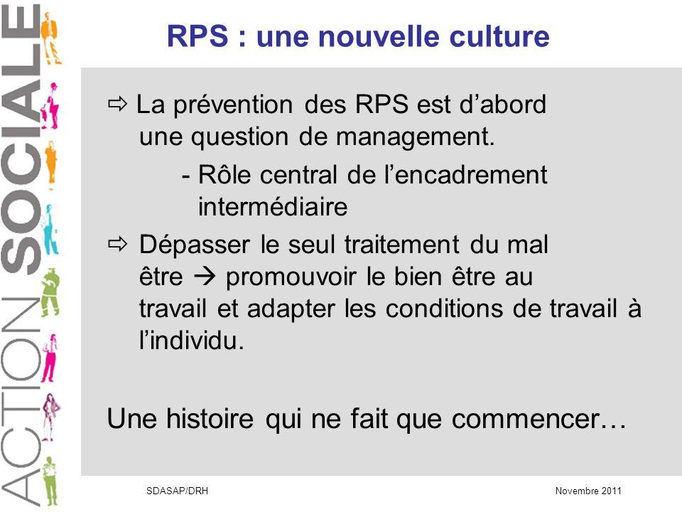 SDASAP/DRH Novembre 2011 RPS : une nouvelle culture La prévention des RPS est dabord une question de management.