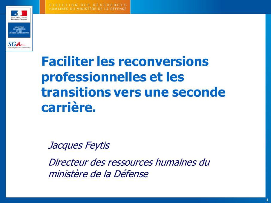1 Faciliter les reconversions professionnelles et les transitions vers une seconde carrière. Jacques Feytis Directeur des ressources humaines du minis