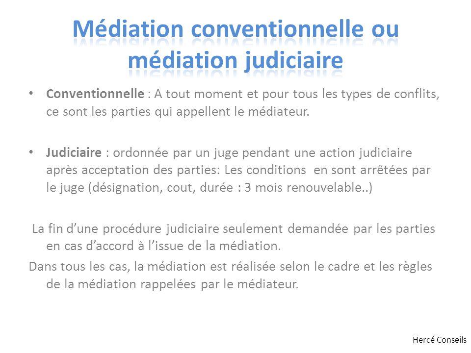 Conventionnelle : A tout moment et pour tous les types de conflits, ce sont les parties qui appellent le médiateur. Judiciaire : ordonnée par un juge