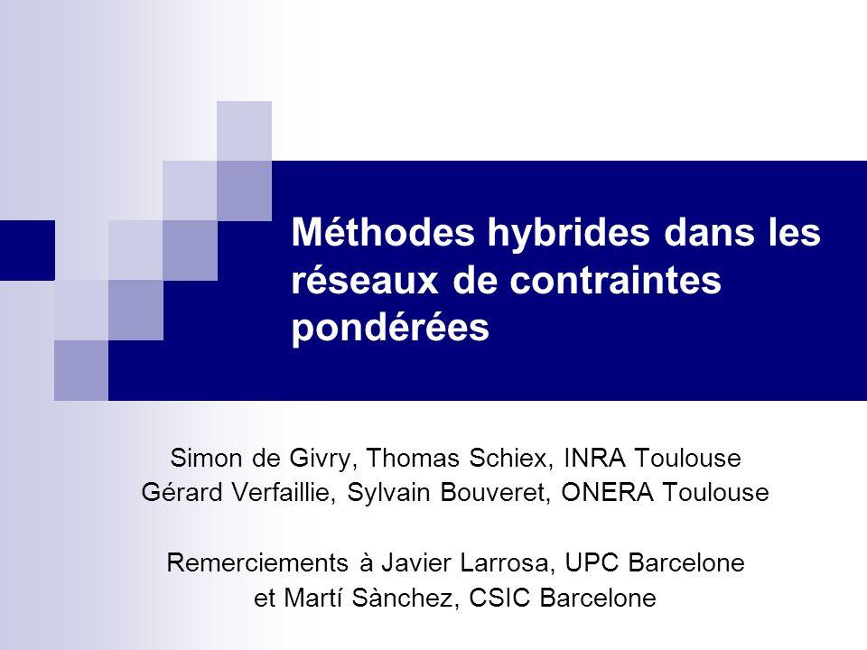 Méthodes hybrides dans les réseaux de contraintes pondérées Simon de Givry, Thomas Schiex, INRA Toulouse Gérard Verfaillie, Sylvain Bouveret, ONERA To