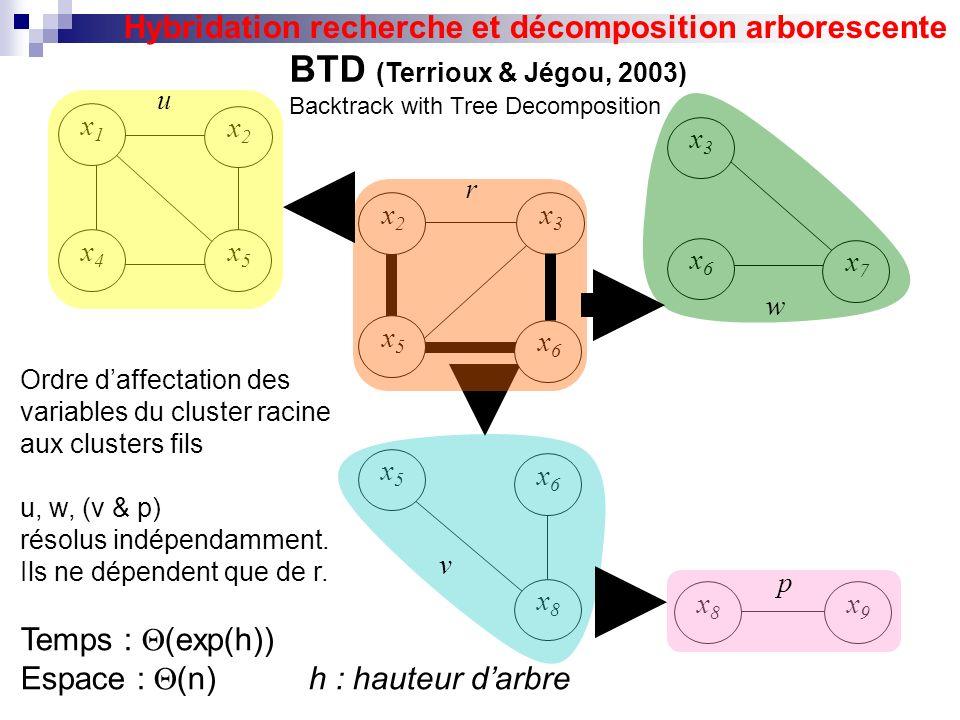 x7x7 x1x1 x2x2 x5x5 x4x4 x6x6 x3x3 x5x5 x6x6 x8x8 x2x2 x3x3 x5x5 x6x6 x9x9 x8x8 u r v p w BTD (Terrioux & Jégou, 2003) Backtrack with Tree Decompositi