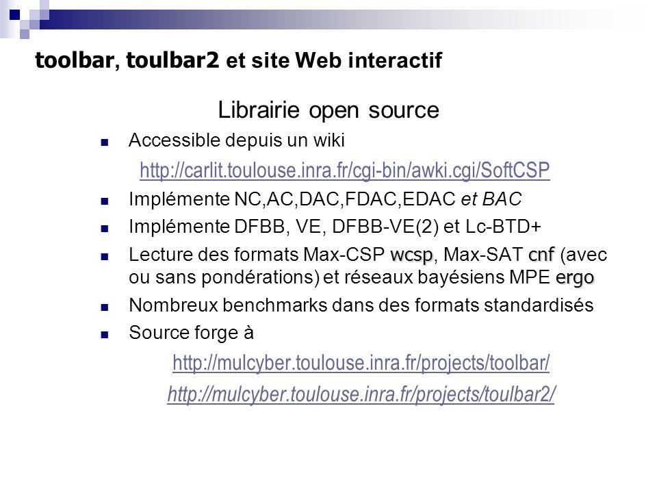 toolbar, toulbar2 et site Web interactif Librairie open source Accessible depuis un wiki http://carlit.toulouse.inra.fr/cgi-bin/awki.cgi/SoftCSP Implé
