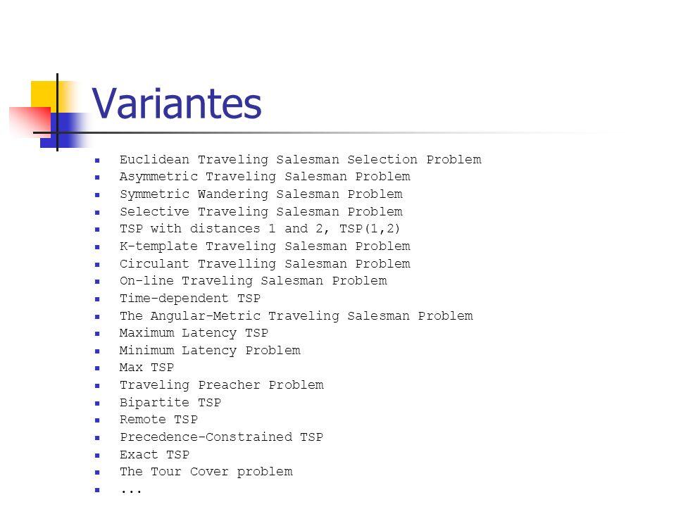 Variantes Euclidean Traveling Salesman Selection Problem Asymmetric Traveling Salesman Problem Symmetric Wandering Salesman Problem Selective Travelin