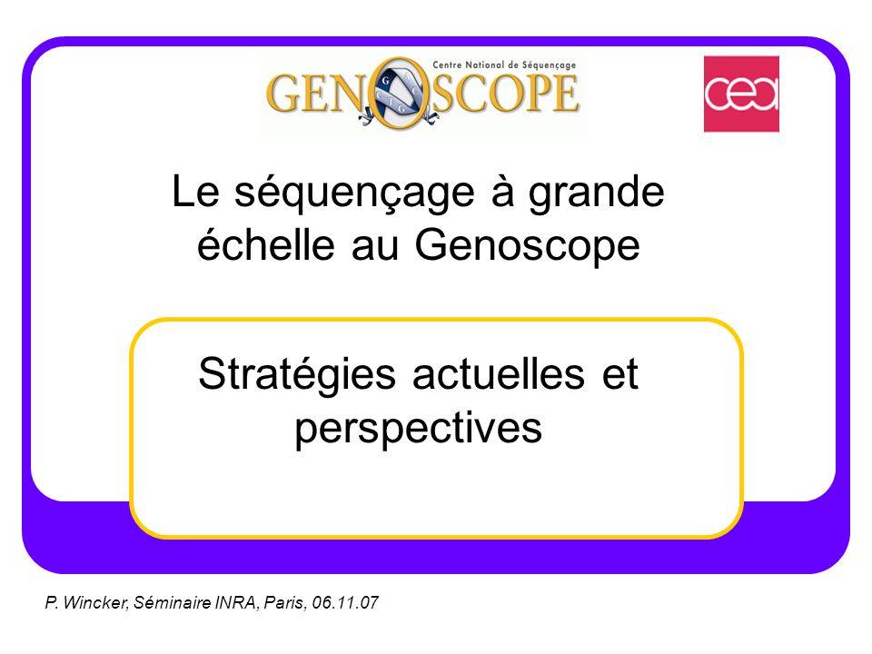 Le séquençage à grande échelle au Genoscope Stratégies actuelles et perspectives P. Wincker, Séminaire INRA, Paris, 06.11.07