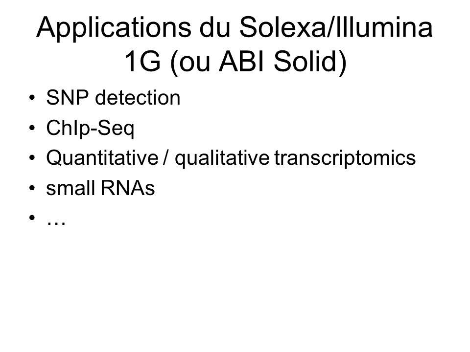 Applications du Solexa/Illumina 1G (ou ABI Solid) SNP detection ChIp-Seq Quantitative / qualitative transcriptomics small RNAs …