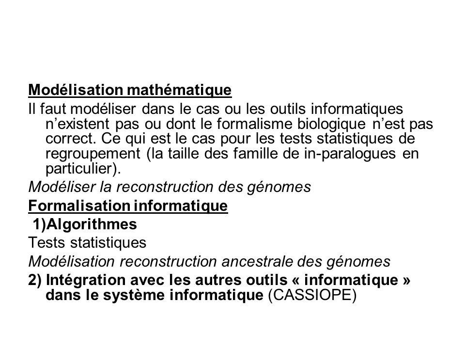 Modélisation mathématique Il faut modéliser dans le cas ou les outils informatiques nexistent pas ou dont le formalisme biologique nest pas correct. C