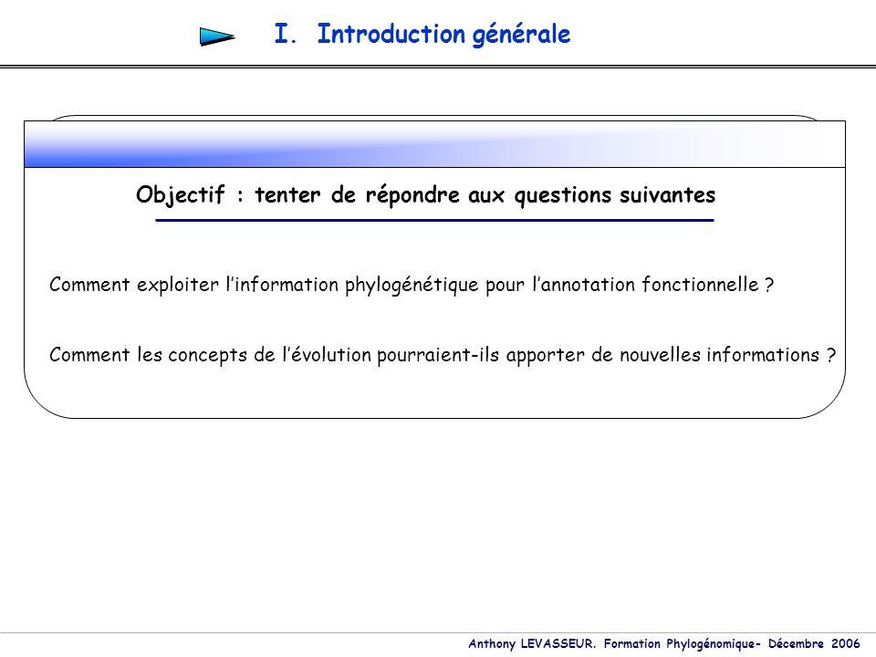 Anthony LEVASSEUR. Formation Phylogénomique- Décembre 2006 Comment exploiter linformation phylogénétique pour lannotation fonctionnelle ? Comment les