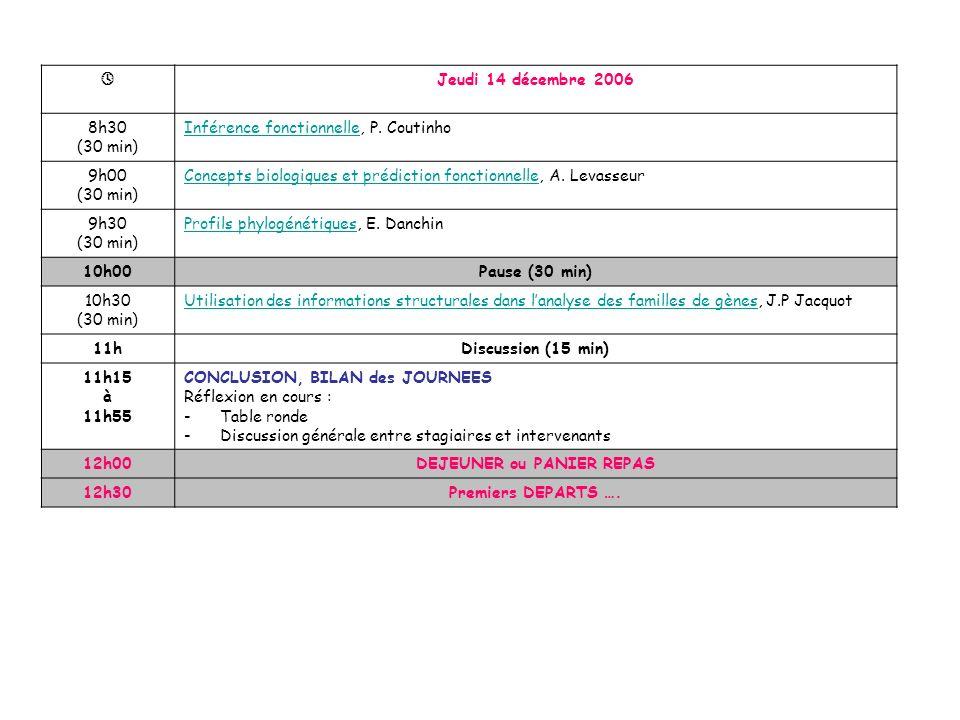 Jeudi 14 décembre 2006 8h30 (30 min) Inférence fonctionnelleInférence fonctionnelle, P.