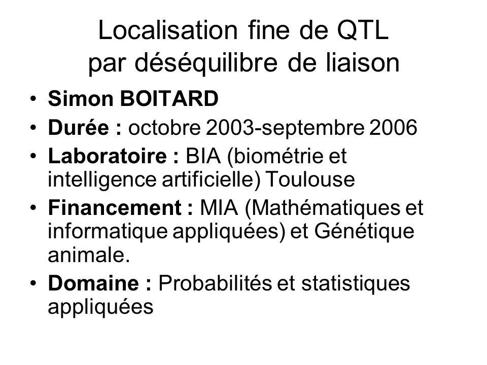 Localisation fine de QTL par déséquilibre de liaison Simon BOITARD Durée : octobre 2003-septembre 2006 Laboratoire : BIA (biométrie et intelligence artificielle) Toulouse Financement : MIA (Mathématiques et informatique appliquées) et Génétique animale.