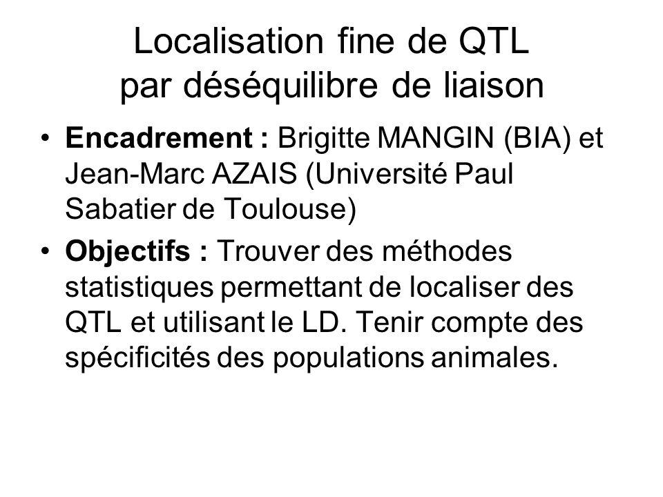 Localisation fine de QTL par déséquilibre de liaison Encadrement : Brigitte MANGIN (BIA) et Jean-Marc AZAIS (Université Paul Sabatier de Toulouse) Obj
